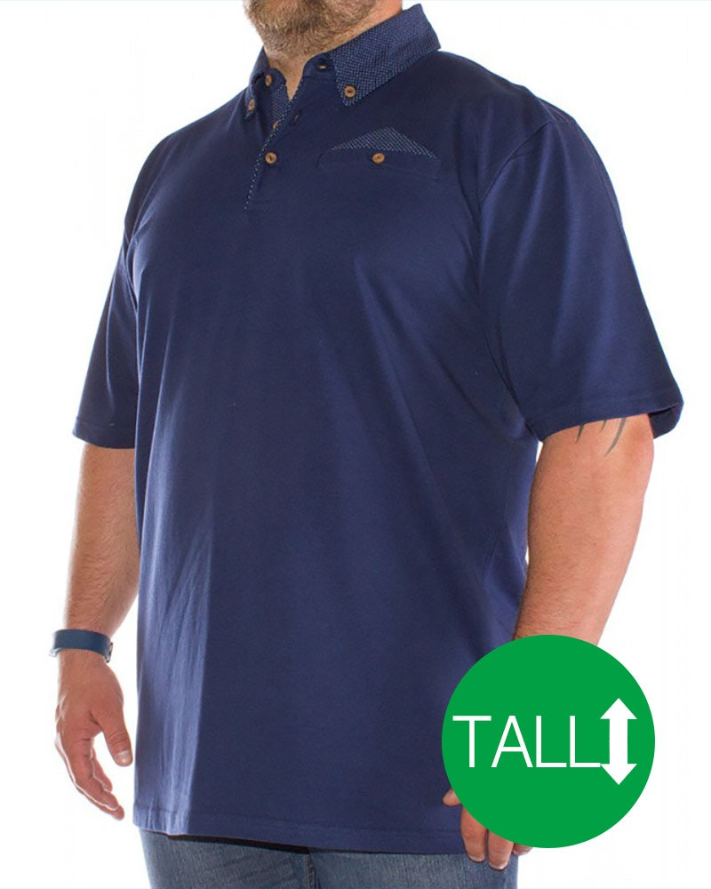 Bigdude Polka Dot Polo Shirt Navy - Tall