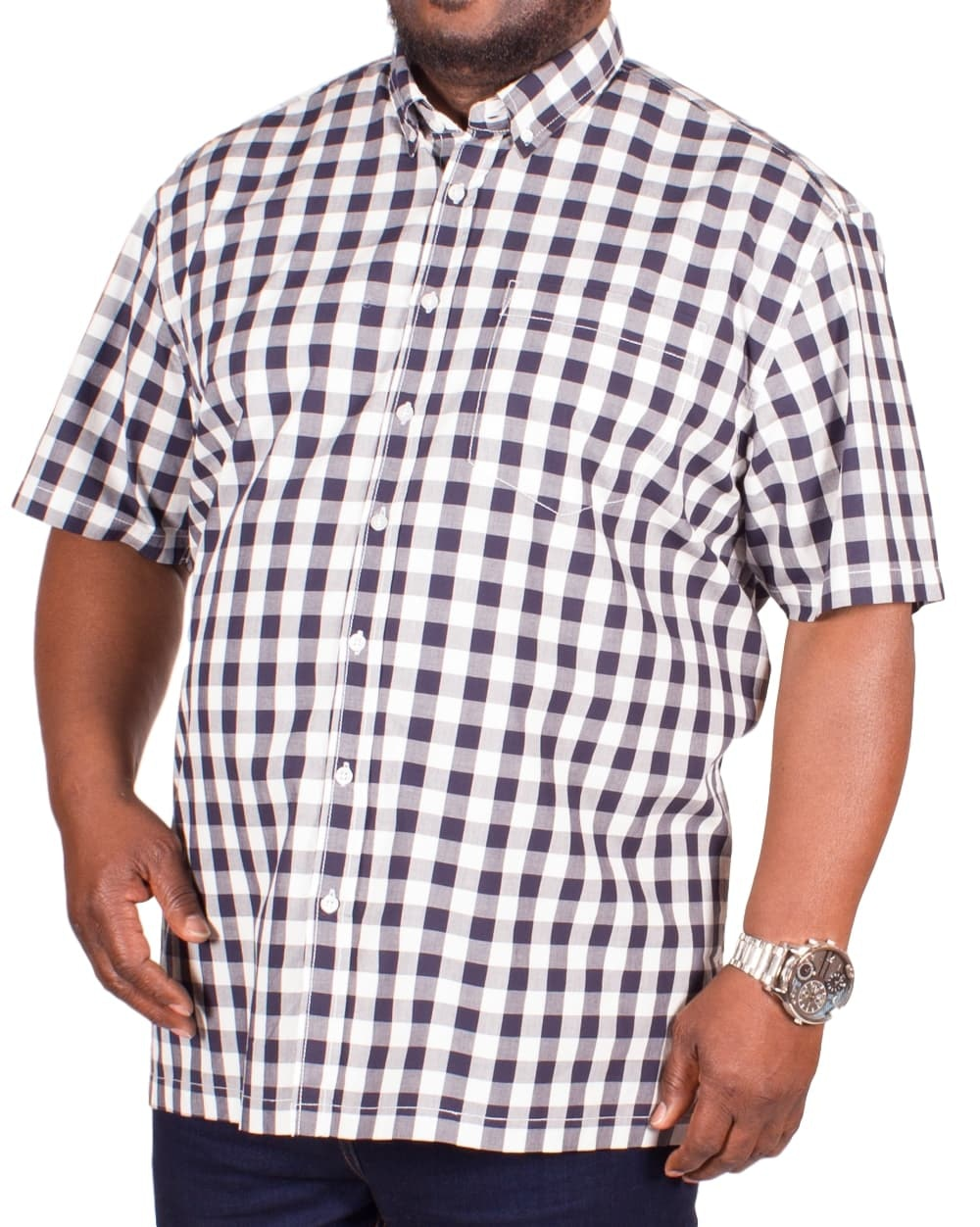 Bigdude Short Sleeve White/Black Check Shirt