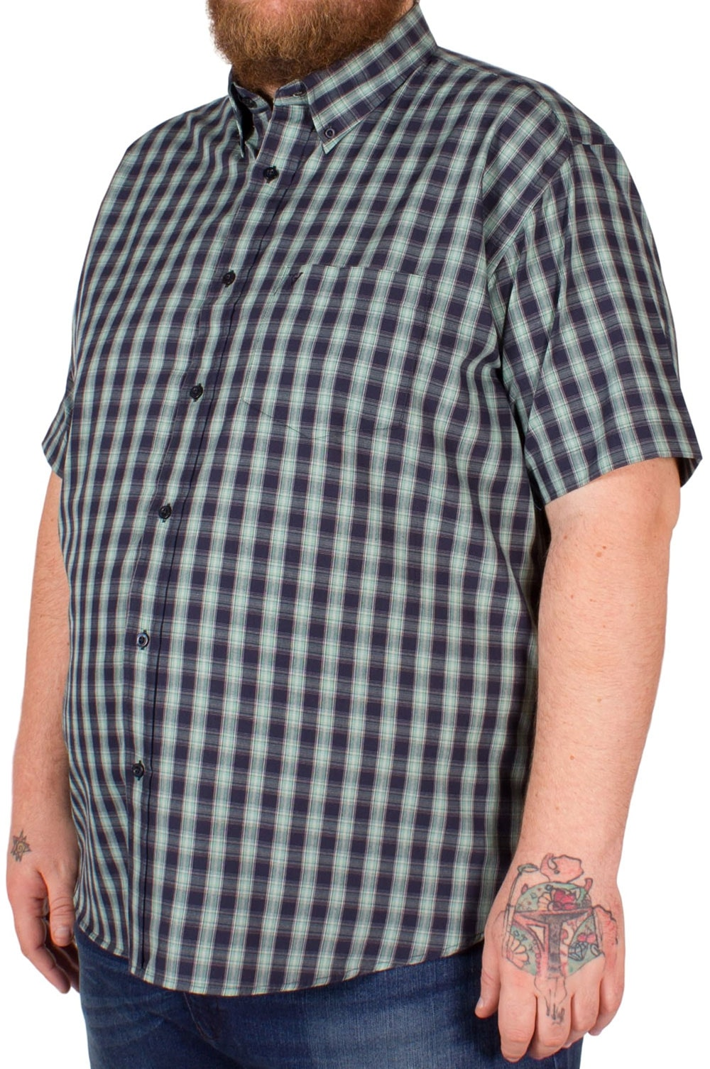 Cotton Valley Short Sleeve Navy/Grey Check Shirt